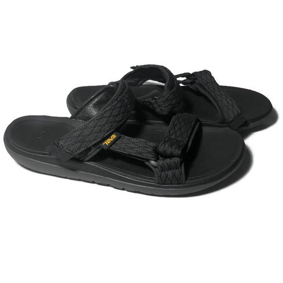 Teva 2 Black Mens Velcro Strap Sandals